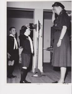 Investiture Nov62. 1st Naramata Cub Pack. Rick Hall. Mary Lamb, Akela
